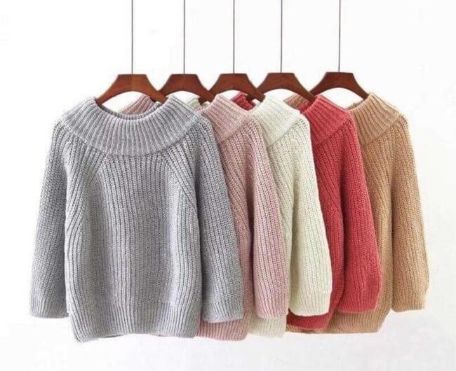 Áo len chui đầu hàng thùng là hàng kiện tổng hợp các mẫu áo len Thu Đông đã qua sử dụng