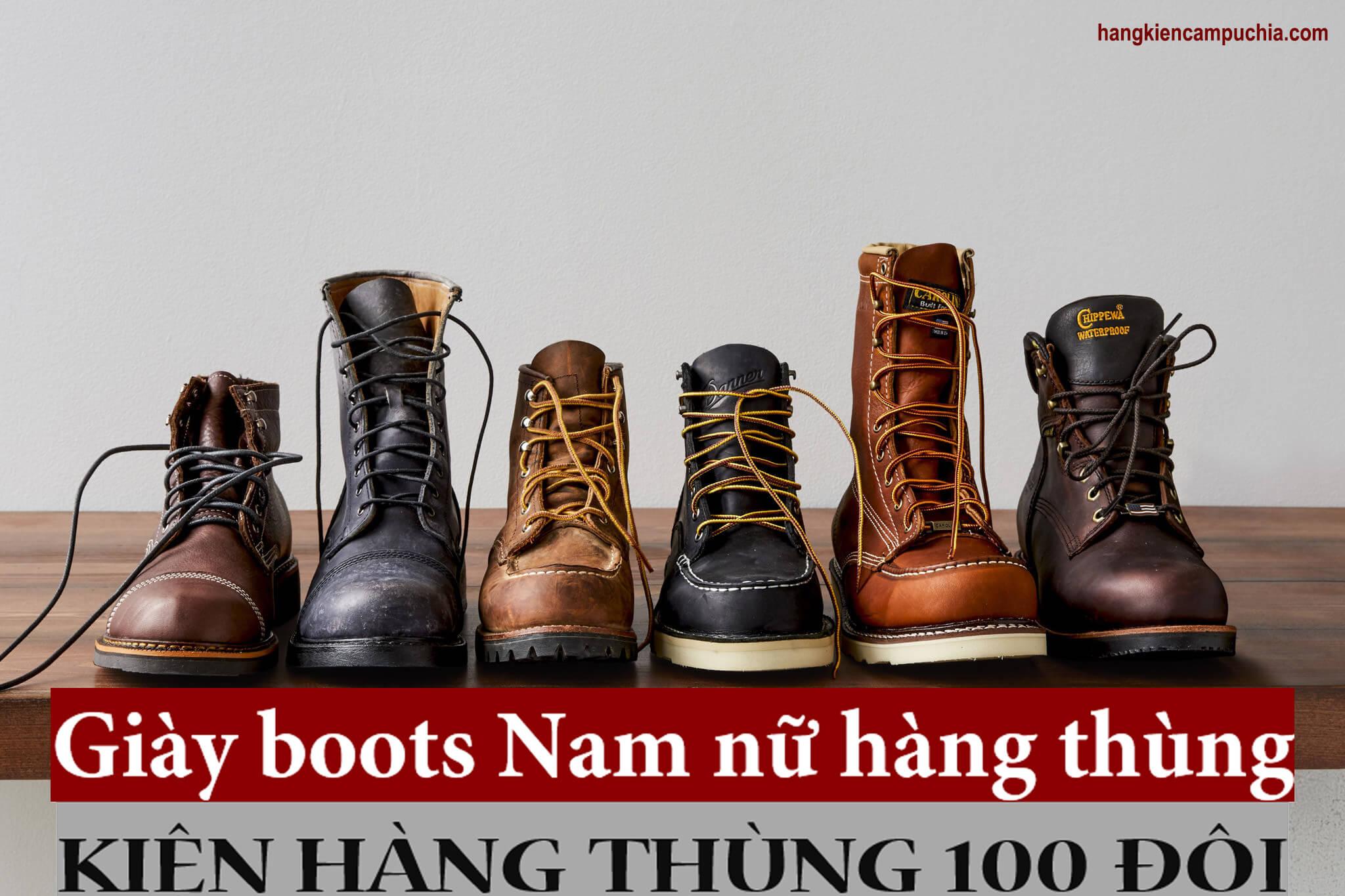 Kiện hàng Giày boots hàng thùng Nam Nữ | Thùng 100 đôi
